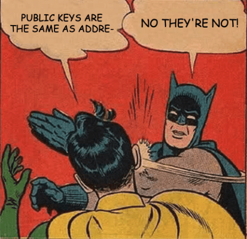 Meme: The Difference between Public Keys and Addresses by Bitcoin Briefly